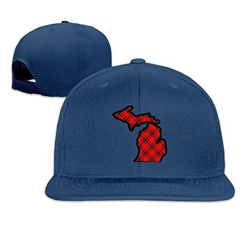 Fashion Red & Black Plaid Michigan Map Flat Bill Dad Hats Classic Baseball Caps Low Profile QW5425,Snapback Hats Women Men Adjustable Baseball Cap Hats