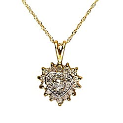 Hallmarked 375 Yellow Gold. Genuine gemstones: round cut Diamonds totalling 0.389 carats. DIA stamped. Pendant, approx 1.7cm long (including bale) with 9ct Yellow Gold fine gauge chain - 46cm long. Pendant & chain come in a branded box with care card...