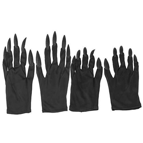 Healifty 2 Paar Halloween Kostümhandschuhe Lange Fingernägel Ghost Party Handschuhe Krallen Handärmel Nagelhandschuhe für Performance Maskerade Party (Schwarz)