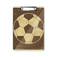 サッカースポーツイラストブラックパターン フラットヘッドフォルダーライティングパッドテストA4