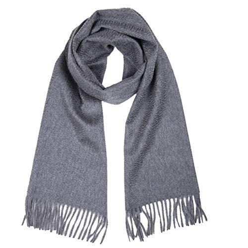 MA.AL.BI 1947 Sciarpa uomo donna 100% puro cashmere 30X170 cm (grigio)