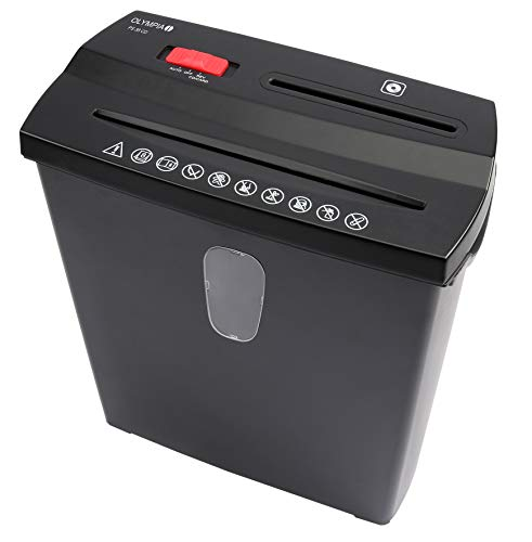 Olympia - Aktenvernichter Schredder Sicherheitsstufe P2 - Papierschredder bis zu 8 Blatt - Aktenschredder Streifenschnitt - Reisswolf schwarz