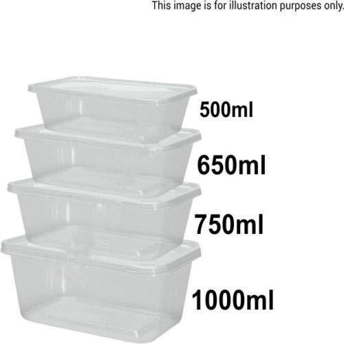 Voedsel Containers Plastic Afhalen Magnetron Chinese lade Vriezer Safe Opbergdozen + Deksels UK (Maat: 650ml / Hoeveelheid. 5 stuks.