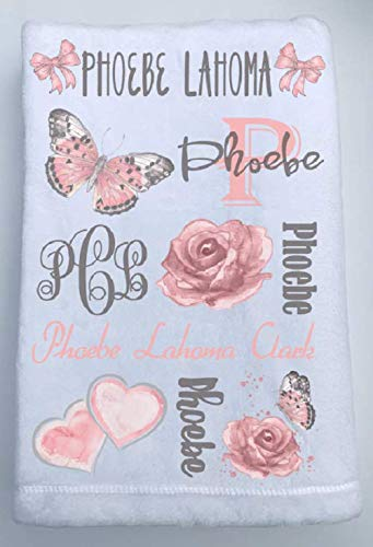 Max 86% OFF Personalized Baby Name Large-scale sale Blanket - Vintage And Butterfly Rose