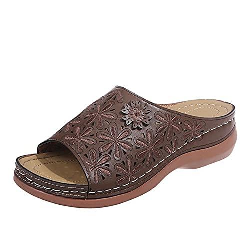 Dames Sandalen - Lederen Zacht Voetbed Orthopedische Boog Ondersteuning Sandalen, Voor Vrouwen Geborduurde Schoenen