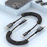 2 Paquetes De Cable De Carga Enrollado Para iPhone, Cable Lightning a USB Original [Certificado Por MFi], Cable Enrollado De Carga USB Retráctil Para iPhone 12/11/XS/XS Max/XR/X/8/8 Plus/7/6/5/Pad