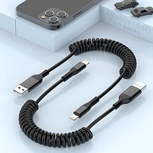 2 Paquetes De Cable De Carga Enrollado Para iPhone, Cable Lightning a USB...