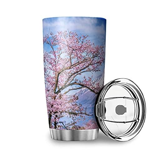 Harneeya Tumbler Japanese Fuji Mount Stainless Steel Coffee Mug Landscape Tea Cup for Home/Travel/Car 20oz White 20oz