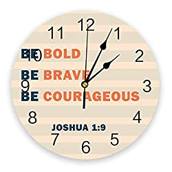 wanxinfu Home Decor Wall Clock, Simple Stripes Be Bold Be Brave Be Courageous - Silent Non Ticking Home Office School Decorative Art Noiseless Round Wall Clock, Battery Operated (11.8 Diameter)