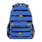DXG1 - Mochila para mujer, hombre, adolescente, niña, escuela, bolso de Halloween, rayas azules, bolsa de libro, suministros de hombro, gran capacidad, 40,5 x 29 x 20 cm