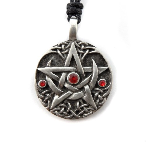 Mystical & Magical Pewter Oracle of Visions Talisman Pentagram Wiccan Pagan Gothic Celtic Pendant- Supplied on Black Rope Necklace