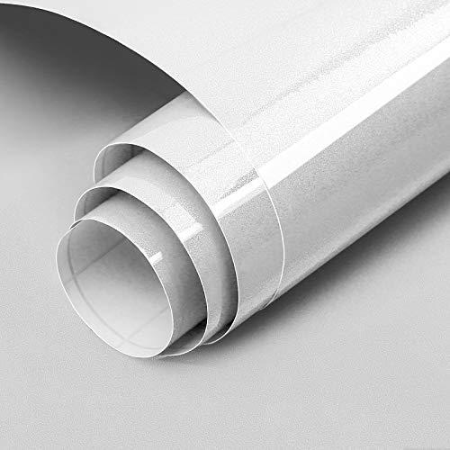 Carta Adesiva per Mobili Luccichio Bianca 60cmX3m Impermeabile Carta da Parati PVC Pellicola Adesiva per mobile Rinnovato da Cucina Muro Armadio Bagno Camera