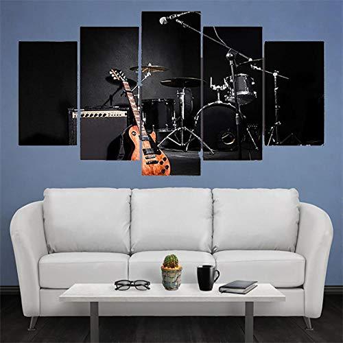 MENGQI 5 carteles de música de decoración de pared, impresión en HD, imágenes modernas, decoración del hogar, banda de tambor de guitarra, pintura en lienzo, arte de pared para sala de estar[150x80cm]
