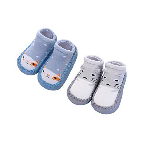 Calcetines Antideslizantes para Bebé Niños Niñas Zapatos Bebe de Primer Paseo 18-24 Meses Blue Cat/Grey Cat