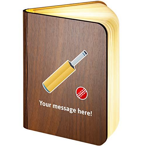 Personalisierbare magnetische LED-Bücherlampe aus Holz mit Cricket-Spiel Emoji, holz, Large