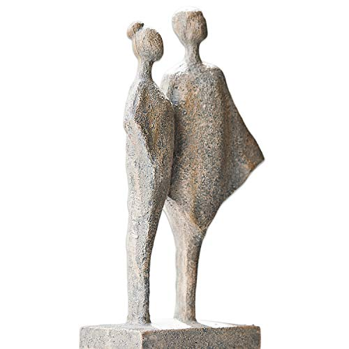 Loberon Skulptur Teslin, Polyresin, H/B/T ca. 31/17 / 9 cm, antikgrau