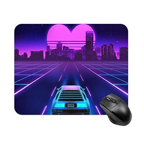 N\A Ciudad púrpura y Coche con la Luna del corazón Alfombrilla de ratón