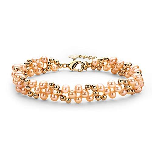 Pulseras rellenas de oro de 14 quilates de varias capas de 4 a 5 mm de agua dulce natural ovalada perla trenzada pulsera de moda para mujer pulsera de joyería PinkOvalPearl