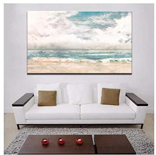 Jwqing Canvas foto's - Turquoise Modern Abstract strand Surf Canvas foto's Muurschilderingen op doek voor de woonkamer Decor70x100cm Geen lijst