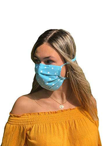 Blauweiße Mund-Nasen-Maske, waschbare Gesichtsbedeckung/Community-Maske aus 100% Baumwolle: unisex, atmungsaktiv, handgefertigt in Deutschland