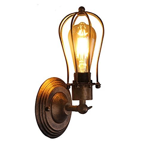 KAYIMAN Applique Vintage Applique Industrial Regolabile in Metallo Lampade da Parete Interno Lampade Rustiche E27 per Bar caffè Hotel Ristorante Loft e Cucina (Con lampadina da 6 W)