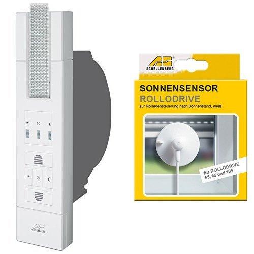 Schellenberg El. Gurtwickler Rollodrive 105 Standard, weiß, 22710 + Schellenberg Sensor für RD55, RD65 und RD105, weiß, 22720