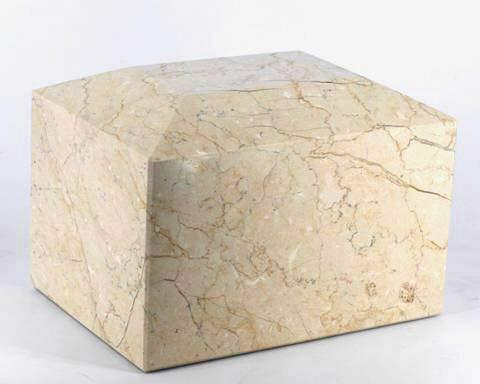Khan Imports Botticino Beige Marble Urn Vault, Stone Cremation Urn Box for Adult - Large