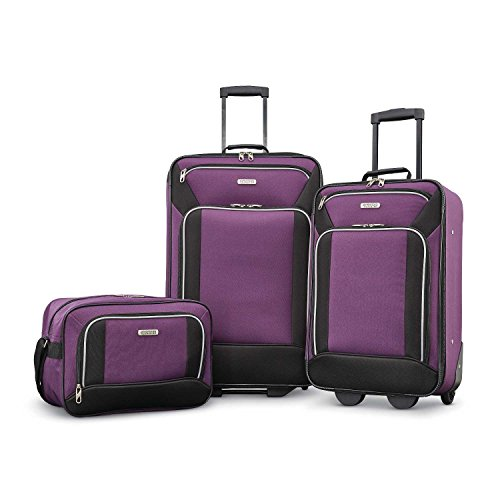 American Tourister Fieldbrook XLT Softside Upright Luggage, Purple/Black, 3-Piece Set (BB/21/25)