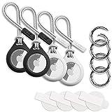 4 Stück W2C Schutzhülle / Schlüsselanhänger Set für Apple AirTag 4er Pack: Hülle / Anhänger + Band / Schlaufe + Karabiner + Schutzfolie (Schwarz Weiß)