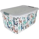 Box mit Deckel Lama 25L mit Farbwahl Aufbewahrungsbox Kunststoff Stapelbox Aufbewahrungskiste...