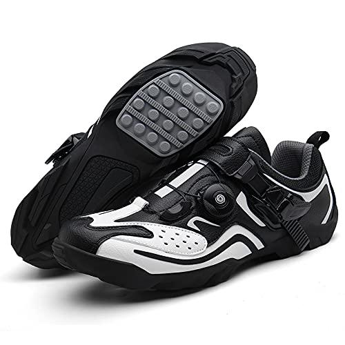 Qisheng Trade Zapatos de Ciclismo Zapato de Ciclismo Profesional MTB Mountain Bike MTB Zapato Al Aire Libre para Mujeres Hombres Bicicleta Zapatos,E-46