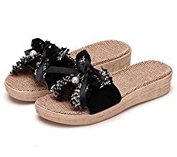 Thick Black Flax Bowknot Slip On Sandals