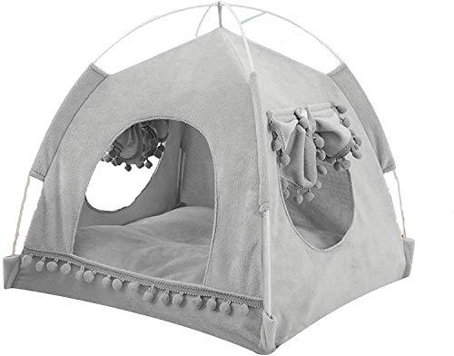 Cama De Cueva De La Tienda De Gato Resistente, Four Seasons Mascotas Teepee Play House, con Cojín Lavable De Doble Cara, para Cat Dog Puppy, Gris (Tamaño: Medio) (Size : Xlarge)