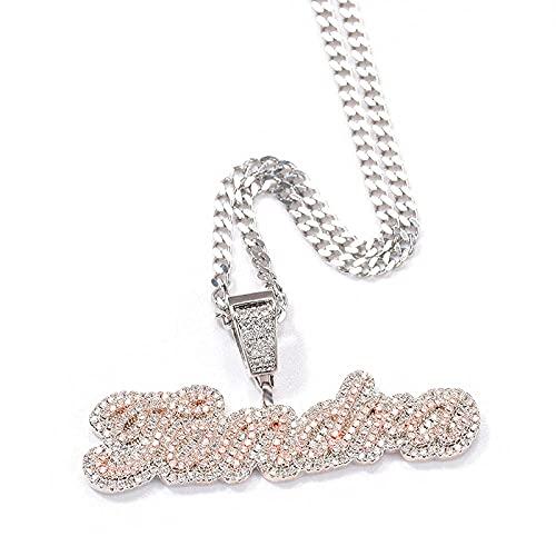 Collar Hombre Plata,Personalizado letras de personalidad nombre Logo colgantes collares para hombres Hip Hop CZ piedra Bling helado joyería rapero
