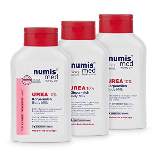 numis med Körpermilch mit 10{8346ff9c17ea851c5e5319b1077a01ee2ca0730eb7f7700ce2d59873d97f674e} Urea - Hautberuhigende Bodylotion für extrem trockene, zu Juckreiz neigende Haut - vegane Hautpflege ohne Silikone, Parabene & Mineralöl - Lotion 3er Pack (3x 300 ml)