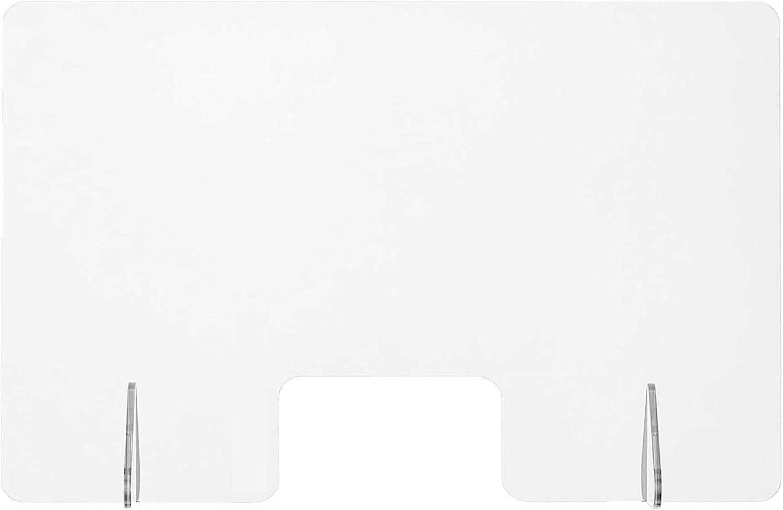 DQSG Pack(4) Mampara de protección metacrilato Transparente 90 x 60 cm (Ancho x Alto), con ventanilla, para ser usada en mesas oficinas, mostradores recepción, Puestos de atención al Cliente