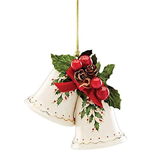 Lenox Holiday Bells Ornament, 0.45 LB, Ivory