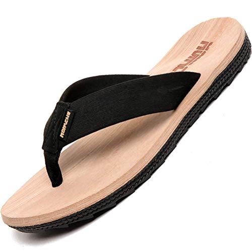 Zapatillas de Moda Hombre Color de Grano de Madera Sandalias de Playa de 26 cm Antideslizante Resistente a los Golpes (Color: Grano de Madera, Tamaño: 29.5 cm)