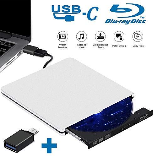 Externe DVD Laufwerk Blu Ray USB 3.0 Blu Ray DVD Brenner,Type C Bluray CD DVD RW Rom Player Tragbar für Windows 10/7/8 / Vista/XP/Mac OS Linux