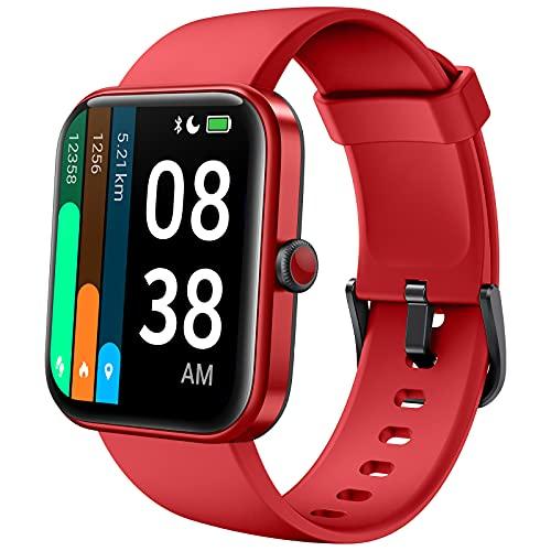 YONMIG Smartwatch, 1.69 Zoll Touch-Farbdisplay Uhr Fitness Armband Tracker Pulsmesser IP68 Wasserdicht Schrittzähler Stoppuhr Schlafmonitor Armbanduhr mit Pulsuhr (Rot)
