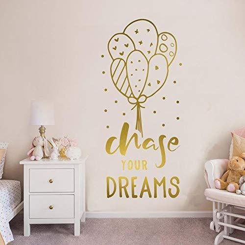 sanzangtang Ballon Aufkleber Zitat Träume jagen Kindergarten Wanddekoration Schriftzug Hauptdekoration Schlafzimmer Wandaufkleber 45x99cm