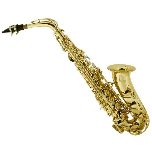 Mendini By Cecilio Eb Alto Saxophone - Instrument Case, Tuner, Mouthpiece, 10 Reeds, Pocketbook, Cloth & Gloves- MAS-L Gold Lacquer E Flat Sax (Saxophone Alto)