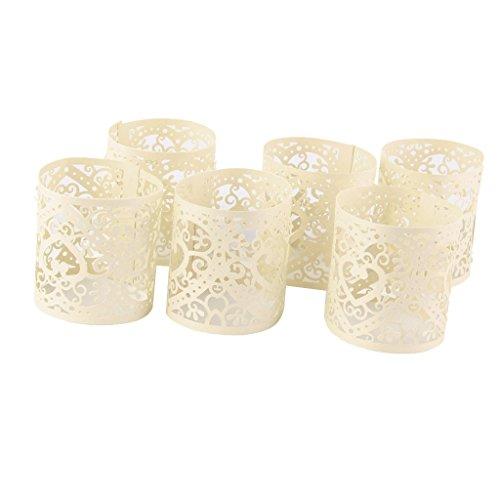 Lot de 6pcs Abat-jour de Bougie à LED Motif Coeur Ajouré Décoration pour Noël Mariage (Crème)