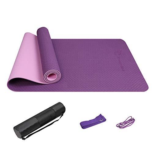 FrenzyBird 5 mm Dicke Übungs-Yogamatte mit Stretchgurt-Mattenbeutel, Tragegurt und Stretchgurt, PVC-frei, ideal für Anfänger und fortgeschrittene Yogis
