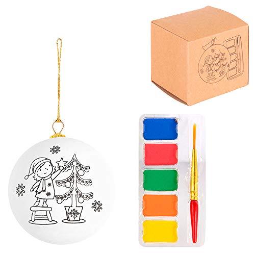 Lote de 30 Bolas de árbol de Navidad para Colorear con Acuarelas Incluidas, Regalos Infantiles navideños para Regalar en colegios y guarderías.
