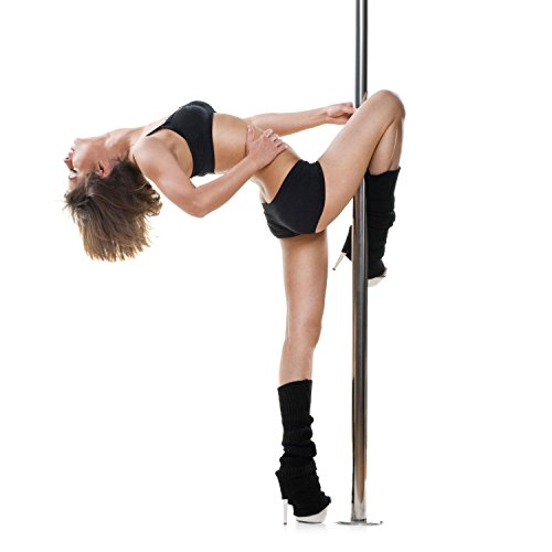 Klarfit Gold Dust Barra de Baile giratoria/Fija 2,74m (Pole Dance Acero Inoxidable, Titanio Dorado 45mm, Antideslizante, Pole Fitness, Aerobic, Longitud Variable, Altura máxima 2,74m)