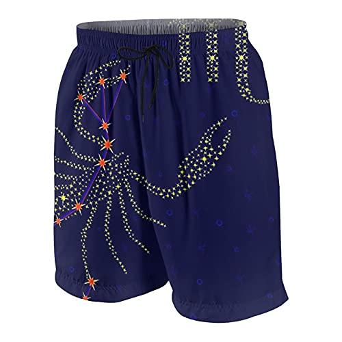 Nongmei Herren personalisierte Badehose,Sternzeichen Skorpion auf einem des Sternenhimmels mit dem Schema der Sterne,Beachwear Badeanzüge Boardshorts Badeanzüge,M