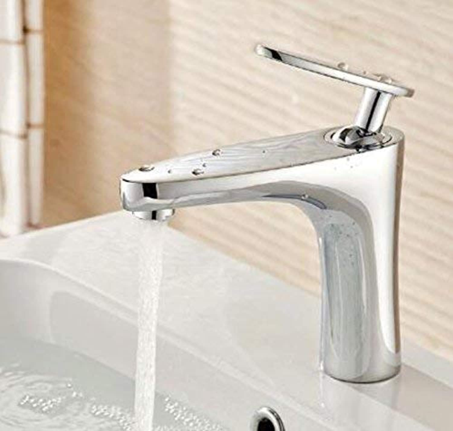 Oudan Bathroom Faucet Luxury Chrome Finished Cold and Hot Bathroom Sink Faucet Basin Faucet,Water Tap Mixer,B (color   A, Size   -)