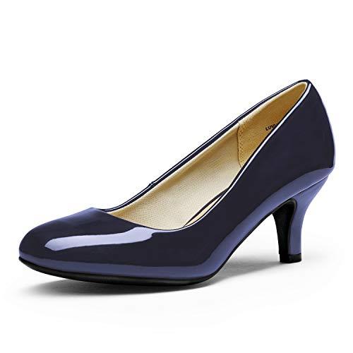 DREAM PAIRS Women's Luvly Navy Pat Bridal Wedding Low Heel Pump Shoes - 8.5 M US