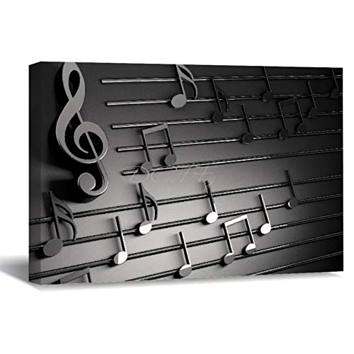 Scott397House Painting Framed Artwork, 3D Music Notes Music Musician Art Canvas Wall Art Printed Ready to Hang Wall Decor for Living Room 30X40